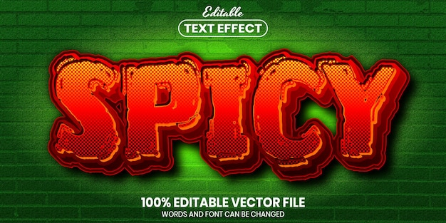 Spicy text, font style editable text effect