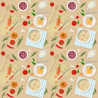 スパイシーな野菜キノコクリームスープディナーランチ準備調理シームレスパターン