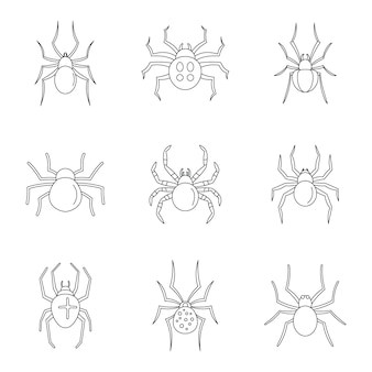 Spider bug caterpillar icons set