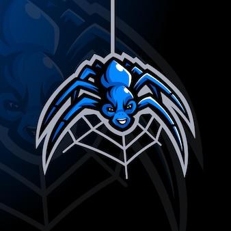 배지 엠블럼에 대한 현대적인 일러스트레이션 개념 스타일이 있는 거미 만화 마스코트 로고 디자인 벡터 및