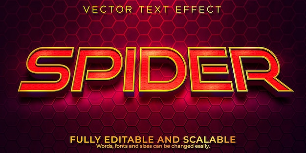 Spider cinematic text effect, editable red and gold text style