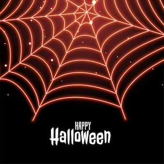 Spider cobweb in neon style happy halloween illustration