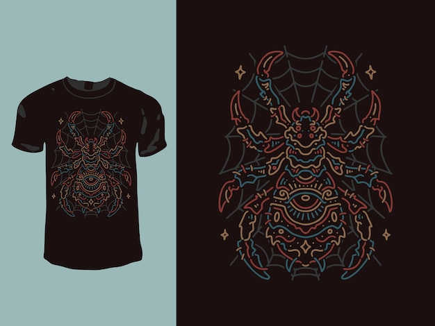 Spider geometry monoline t-shirt design
