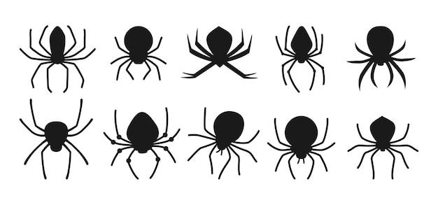 거미 할로윈 검은 실루엣 세트 유령 같은 무서운 거미 위험한 독거미 소름 끼치는 장식