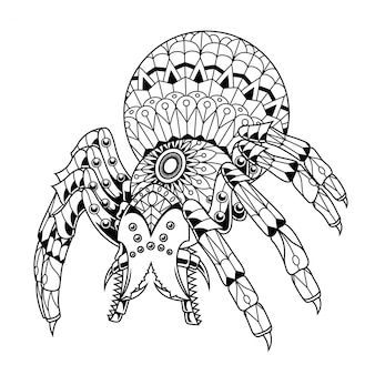 Spider illustration mandala zentangle lineal style