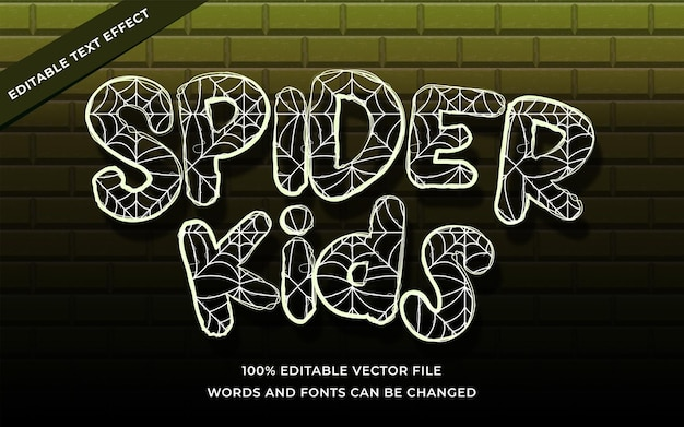 Spider kids text effect editable for illustrator