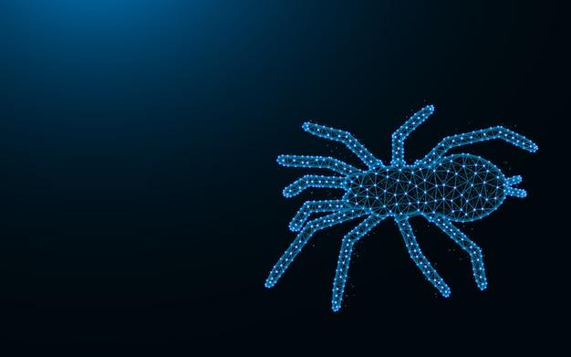 Паук из точек и линий на темно-синем фоне, каркас тарантула многоугольный