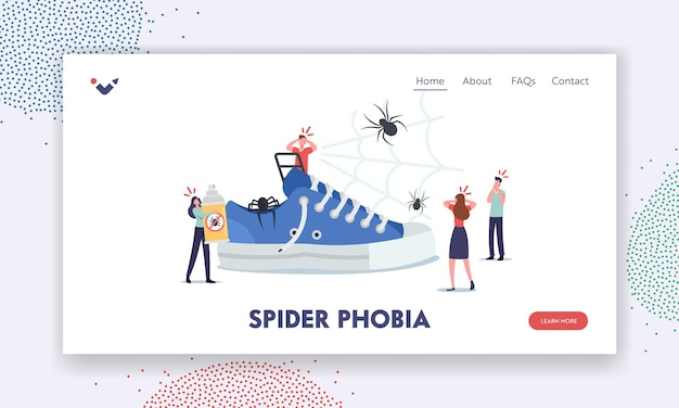 Spider phobia landing page template. tiny characters around huge sneaker, frightened people afraid of insect, arachnophobia psychological problem. scary people in panic. cartoon vector illustration