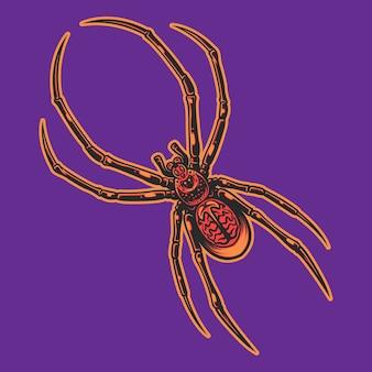 Красный паук, изолированные на фиолетовом фоне