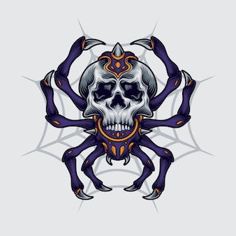 Spider skull illustration
