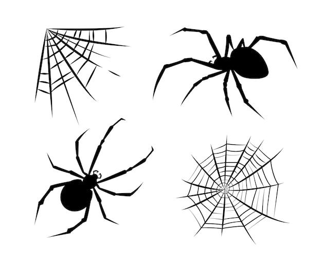 Spider stickers. spider silhouettes. halloween. spiderweb silhouettes spiderweb stickers. vector set