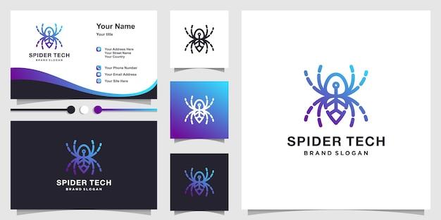 創造的なラインアートのコンセプトと名刺デザインプレミアムベクトルとスパイダーテックロゴ