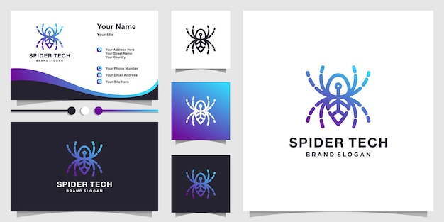 Spider tech logo with creative line art concept and business card design premium vector