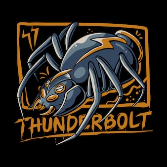 Spider thunderbolt  illustration. animal robot