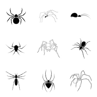 Spider vector set. simple spider shape illustration, editable elements, can be used in logo design