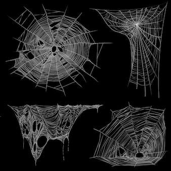 Коллекция реалистичных белых изображений на черном фоне паутины и запутанной неровной паутины