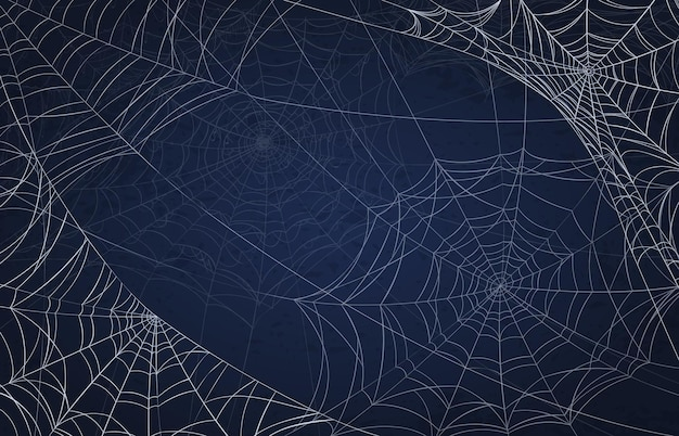 Spider web background for halloween. spooky pattern with realistic cobwebs. creepy holiday decoration, scary goth spiderweb vector texture