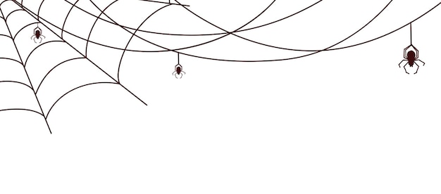Spider web banner. cobweb with spiders, isolated horrible decorative ornament. halloween vector background. spiderweb black for halloween banner decoration illustration
