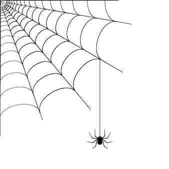 Spider web corner illustration. halloween decoration with cobweb. simple spiderweb vector