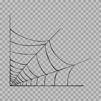 Иллюстрация угла паутины. украшение хэллоуина с паутиной. простой вектор паутины