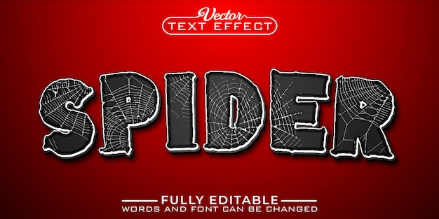 Spider web editable text effect template