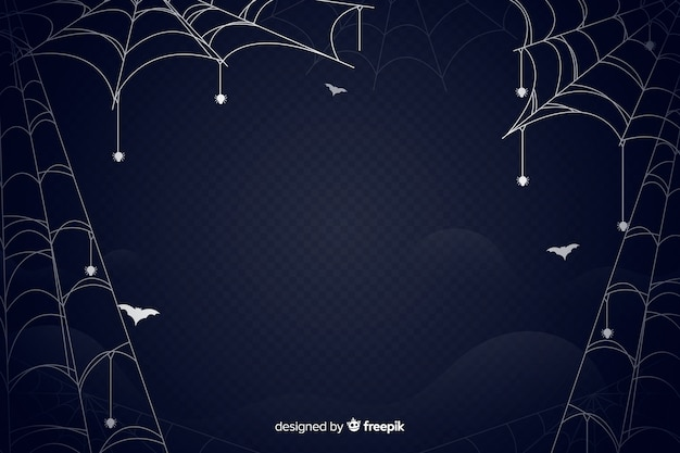 Spider web halloween background flat design