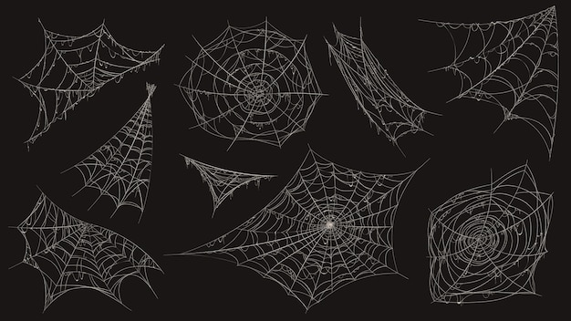 Spider web. halloween cobweb spooky decoration. corner with old dusty spiderweb hanging. creepy decor spiders white sticky trap vector set. halloween corner, spiderweb thread, sticky line