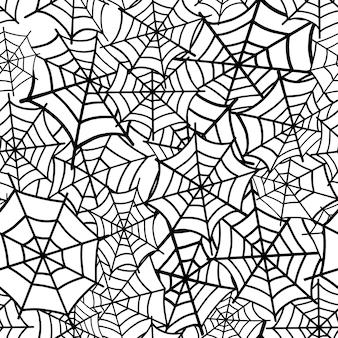 蜘蛛の巣のシームレスなパターン。ベクトルイラスト