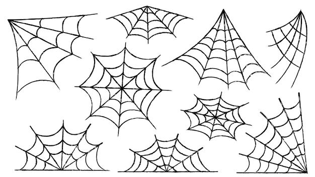 거미줄 세트입니다. 거미와 할로윈 장식입니다. 버려진 장소에 소름 끼치는 거미줄. 개요 및 라인 격리 벡터 일러스트 레이 션.