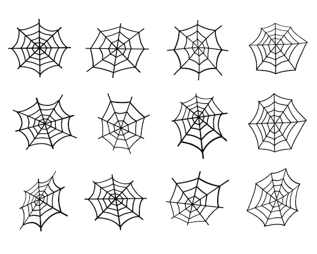 Spider web set. vector illustration