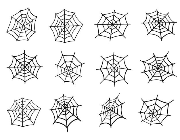 스파이더 웹 세트. 할로윈을 위한 웹, 할로윈 디자인을 위한 무섭고 유령 같은 으스스한 요소입니다. 낙서 스타일의 벡터 일러스트 레이 션