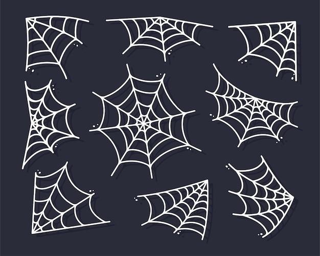 ハロウィーンのバナーの装飾のためにぶら下がっているクモの巣のシルエット。背景に分離