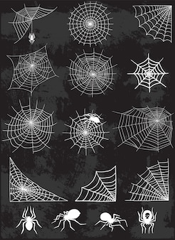 Spider web silhouette  set