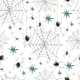 Spider web watercolor seamless pattern wallpaper