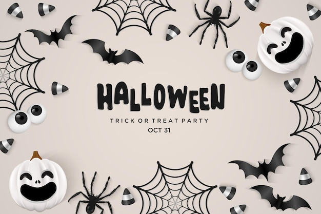 Spider web with bats on halloween party background