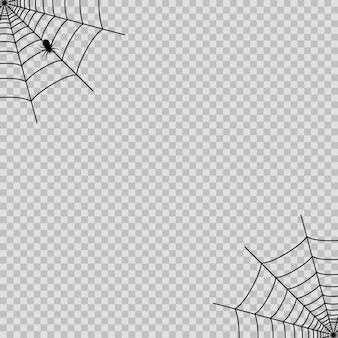Transaprent背景のハロウィーンのための黒いクモとクモの巣。ベクター。