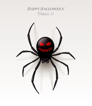 Spider with a pattern on the abdomen in the form of an ominous smile. halloween illustration,
