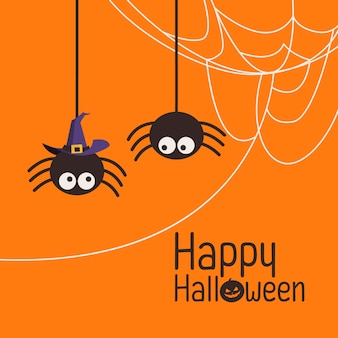 Spider with witch hat and web in happy halloween day theme