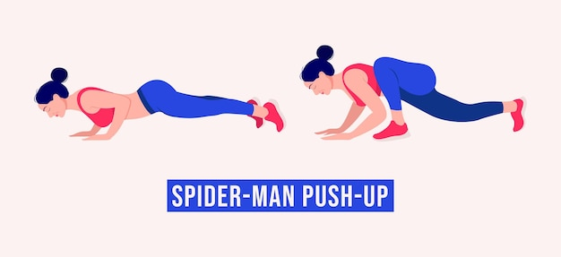 Spiderman push up exercise woman workout fitness aerobic and exercises