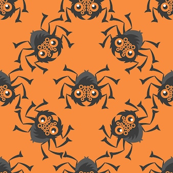 Spiders of halloween seamless pattern of orange color