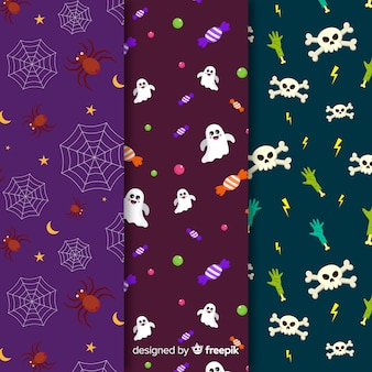 Spiders and skeleton flat halloween pattern collection