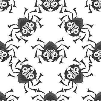 Spiders on webs seamless pattern on white background repeats seamlessly.