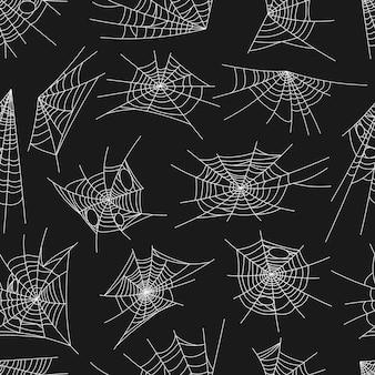 거미줄 패턴, 할로윈, 배경, 벡터에 대한 원활한 거미줄. 검은 배경에 흰색 거미줄 또는 거미줄 패턴, 공포 휴일 밤 및 으스스하고 소름 끼치는 만화 장식