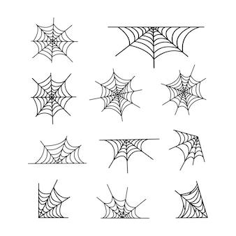 Изолированная иллюстрация набора паутины. дизайн украшения хэллоуина