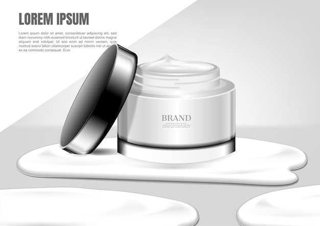 Spill cream of white cosmetic jar