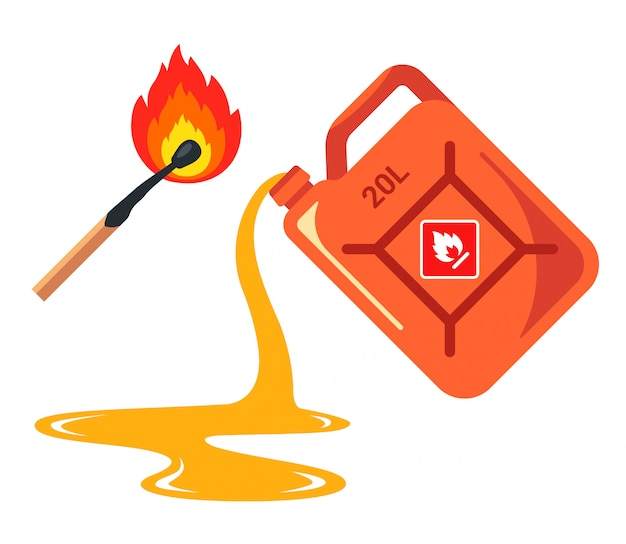 Spilled gas from a canister. banner caution flammable. flat illustration isolated on white background.