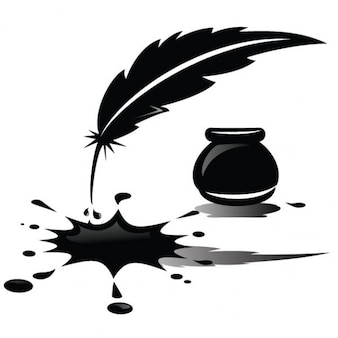 Spilled ink and feather illustration