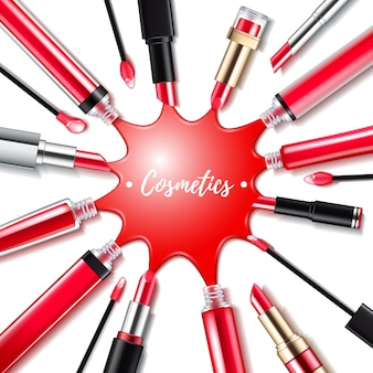 Spilled red lip gloss with applicators background. round splash. make-up cosmetic products   illustration. good for ads banner poster .