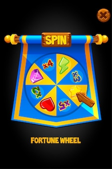 Spin wheel on a blue flag for game. banner wheel of fortune and wooden arrow.