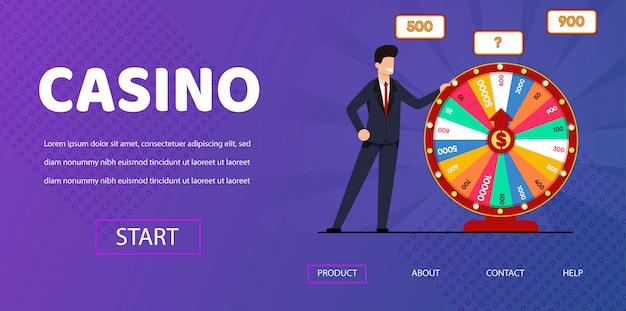Счастливый человек возле spin wheel fortune иллюстрация